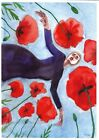 original+painting+%D0%903+533ShA+art+realism+watercolor+woman+in+a+field+of+poppies