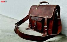 Bag Men Leather Goat S Brown Vintage Laptop Shoulder Messenger Briefcase Real
