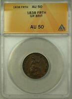 1838 Great Britain Copper 1 Farthing Coin Queen Victoria ANACS AU 50