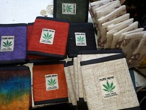 hemp wallet, THC free made in Nepal, fair trade, eco coin purse, natural fibres