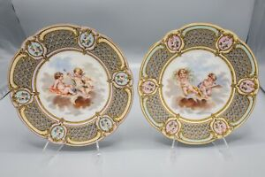 """Antique French Porcelain Cherub Angel Putti Cabinet Plate Pair 8 3/4"""" D Unsigned"""