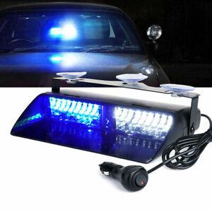 DC 12V White Blue 16 LED Strobe Flashing Light Car Dash Emergency Warning Lamp