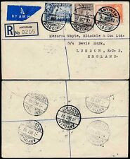 Gold Coast anyinam correo aéreo registrado para Gb... 8 Transparente Matasellos 1952