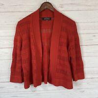 Kasper Open Front 3/4 Sleeve Cardigan Sweater Size Medium Red Cotton Blend