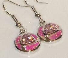 *** UK SELLER** Silver/Rhodium Plated PINK FIRE OPAL/ TOPAZ Earrings 12x12mm