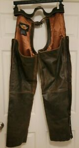 HARLEY DAVIDSON DISTRESSED BILLINGS BROWN LEATHER CHAPS MENS XL NEW UNCUT