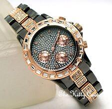 Ladies Rose Gold & Bronze Baguette Crystal Bling Statement Bracelet Dress Watch