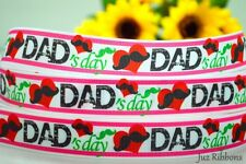 "1"" INCH DAD'S DAY WITH MUSTACHE GROSGRAIN RIBBON 5 YARDS 4 HAIRBOW BOW"