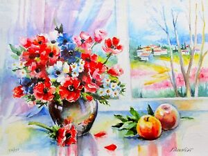"""ANA ROSENBLAT """"SUMMER DAY"""" Hand Signed Limited Edition Serigraph Flowers Apples"""