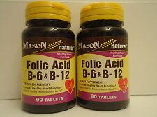 PACK 2 Mason Folic Acid B-6 & B12 Heart Health Formula 90 Tablets per Bottle