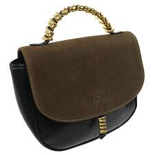 Authentic LOEWE Combi Leather Hand Bag Black Brown Vintage GHW GOOD A34563