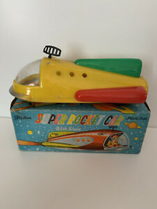 VINTAGE SUPER ROCKET SPACE CAR FRICTION PLASTIC TIN TOY IN BOX MADE IN HONG KONG