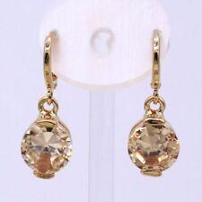 Nice New 18K Gold Plated 10mm Round Champagne CZ Mini Hoop Dangle Drop Earrings