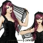 Sinister Gothic Black Crochet w Venetian Lace Fringe Rose Crown Wedding Veil