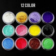 12Pcs Natural Mica Powder Pigment Mud Nail Art Manicure Makeup Eyeshadow Diy