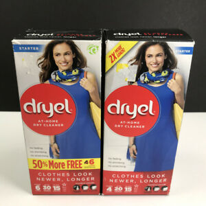 Lot of 2 Boxes Dryel At-Home Dry Cleaner Starter Kit - 6 Loads Per Box