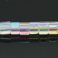 One Strand Clear AB Coated Cube Square Glass Beads 4mm 81 Beads Approx J28433XD