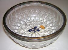 "Eales of Sheffield 8-1/2"" Lead Crystal Bowl with Silverplate Rim Vintage"