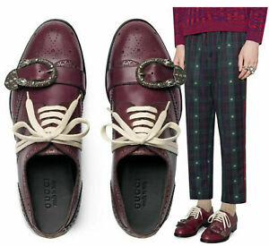 GUCCI SHOES MENS QUEERCORE BROGUE LOAFERS BEE TIGER BUCKLE $1,300 8.5 US 9