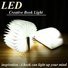 LED Foldable Wooden Book Shape Desk Lamp Night Light Booklight USB Rechargeable