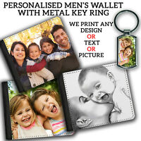 Mens PERSONALISED WALLET Printed Valentines Gift & KEYRING Any Image Text Photo