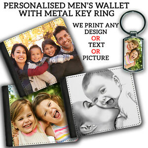 MENS PERSONALISED WALLET Printed Fathers Day Gift & KEYRING Any Image Text Photo