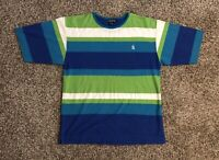 VTG Nautica Mens S/S T-Shirt Large Striped 100% Cotton Made In Korea EUC