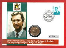 """1x Numisbrief """"35. Geb. Prinz Philippe von Belgien"""" mit 20 Francs Münze!"""
