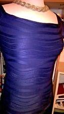 CMH Solid Blue Cap Sleeve Above Knee Career Club Dress Sz L Large PD050