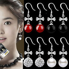 925 Sterling Silver Bow-knot Pearl Crystal Agate Party Wedding Dangle Earrings
