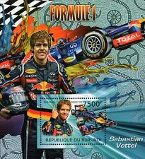 2012 SEBASTIAN VETTEL Red Bull Racing F1 Race Car Stamp Sheet (2012 Burundi)