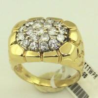 14K Men's Nugget Diamond Ring Yellow Gold Over Men's 3/4 CT Cluster Ring