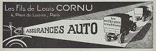 Publicité Assurance Auto  Louis CORNU prévention routière vintage ad  1922 - 9h