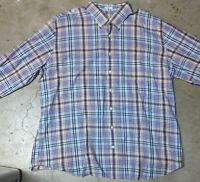 Peter Millar Plaid Long Sleeve Button Shirt Mens Adult 2XL Colorful 100% Cotton