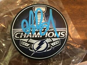 ANDREI VASILEVSKIY LIGHTNING SIGNED STANLEY CUP CHAMPS PUCK  FANATICS AUTHENTIC