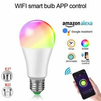 E27 B22 RGBW Wifi Smart LED Light Bulb App Control for Amazon Alexa/Google Home