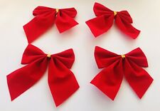 Small Red Bows Velvet Craft Christmas Hair Tree Gift Packaging Wrapping Wedding