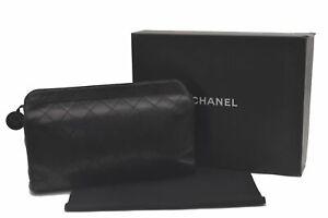 Authentic CHANEL Lamb Skin Bicolole Clutch Bag Black CC Box C2119
