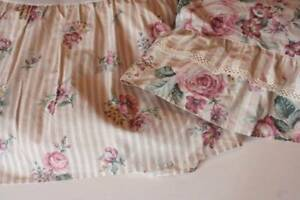 Vintage JC Penny Twin Bedskirt Taupe Striped Roses 4 Matching Curtain Panels B16