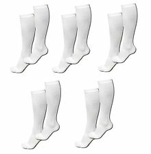 5 Pair Sm/Med White Compression Support Socks Graduated Men's Women's