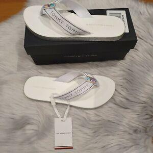Tommy Hilfiger White Glitter Flip Flops Size 5UK Brand New