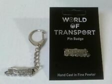 Steam Train Pewter Keyring And Pin Badge Gift Set