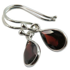 FINE EDH Genuine GARNET Pear Gemstones Drop Earrings 925 Solid Sterling Silver