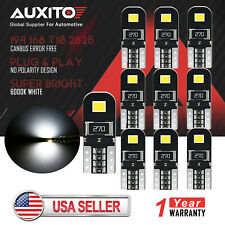 10x AUXITO Canbus T10 194 168 2835 LED Door Interior Map Light Bulb Error Free