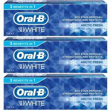 3 x Oral-B 3D White Arctic Fresh Mint Toothpaste Whitening Enamel Protect - 75ml