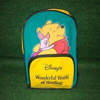 Vintage Disney Winnie The Pooh Wonderful World Of Reading Kids School Backpack