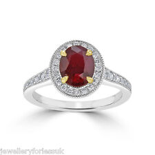 18Carat White Gold Natural Ruby & Diamond Oval Cluster Ring 2.20 Carats