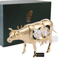 Matashi 24K Gold Plated Crystal Studded Cow Figurine Animal Ornament For Gift