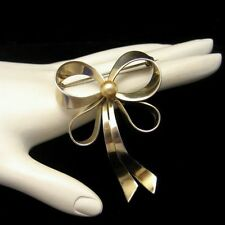 STERLING Silver Vintage Large Bow Brooch Pin Gold Vermeil Faux Pearl