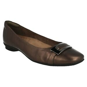 CANDRA GLARE LADIES CLARKS LEATHER WIDE SLIP ON PUMPS BALLERINA FLATS SHOES